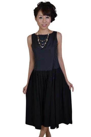 ブラックシンプルミディ丈ドレス