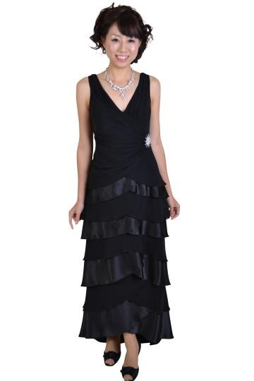 ブラックティアードロングドレス