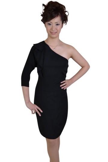 ブラックシンプルワンショルダードレス