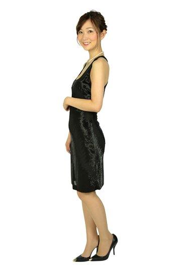ブラックビーズタイトドレス