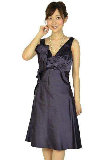 Vネックダークパープルシルクドレス