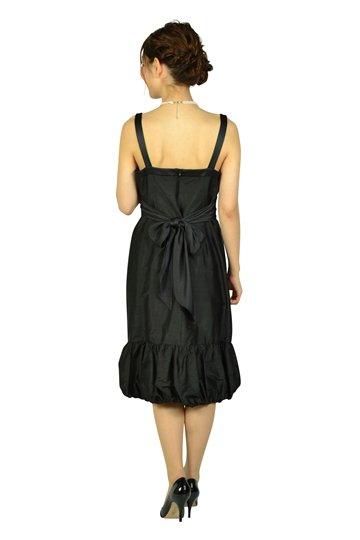 ブラック裾パフミディドレス