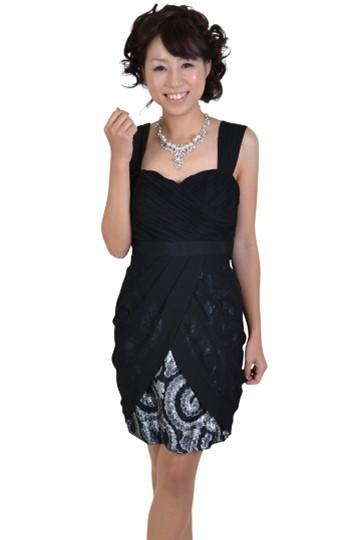 ブラック裾ペイズリードレス