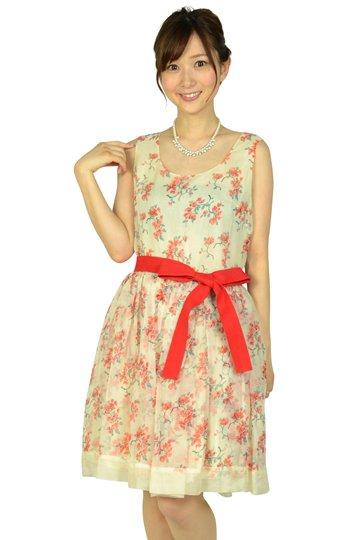 エクリュベージュ小花柄ドレス