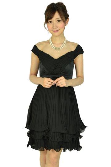 オフショルダーブラックミニドレス
