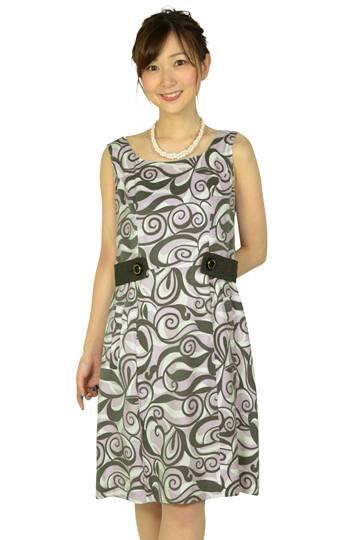 パープル幾何学柄ドレス