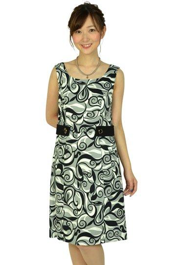 ブラック幾何学柄ドレス