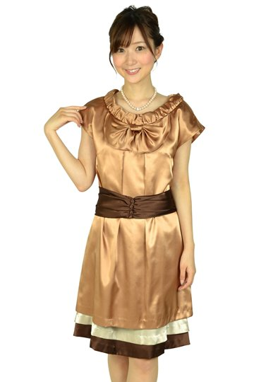 ダークオレンジミニ袖ドレス