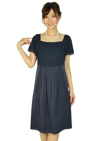 ネイビー切り替えドレス