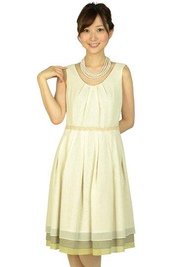 アイボリー3色裾ドレス