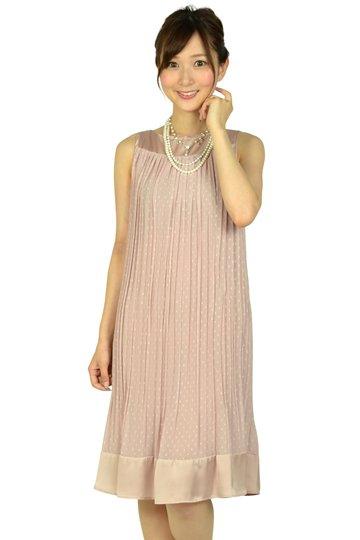 ピンクドットプリーツドレス