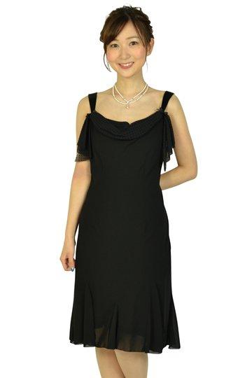 ブラック胸ドット柄リボンドレス