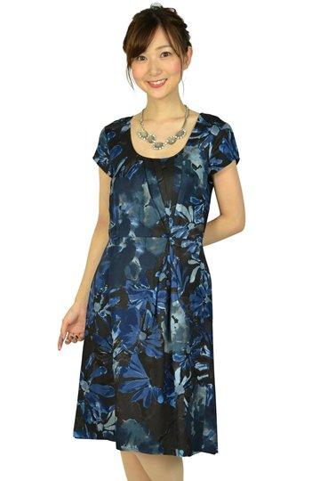 ブループリント柄ドレス