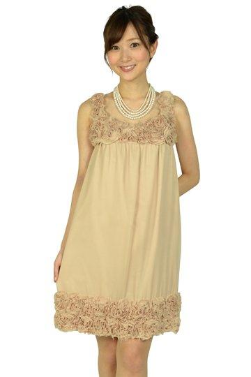 ベージュローズモチーフドレス
