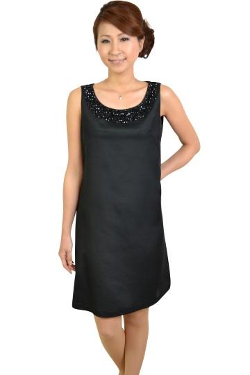 ブラックビジュ付きシルクドレス
