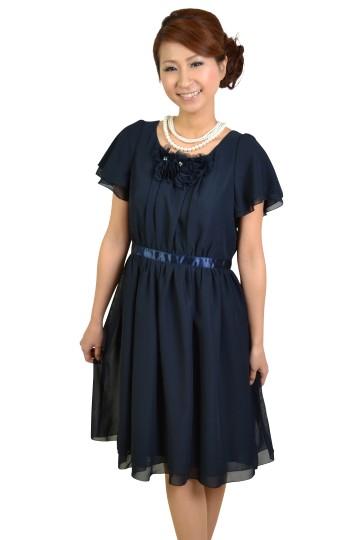 ふんわりミニ袖ネイビードレス