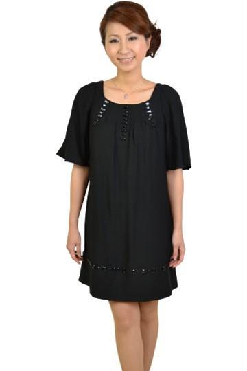 ブラックスタッズ付き半袖ドレス