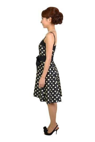 ブラックドットリボンドレス