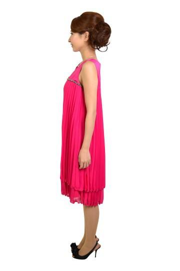 フューシャピンクプリーツドレス