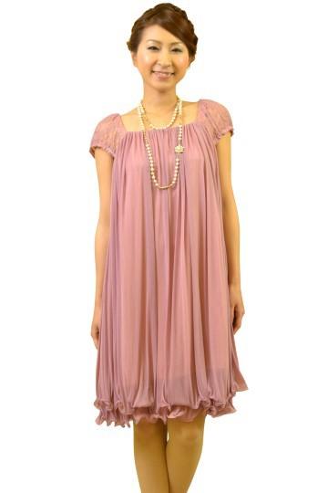 肩レースふんわりピンクドレス