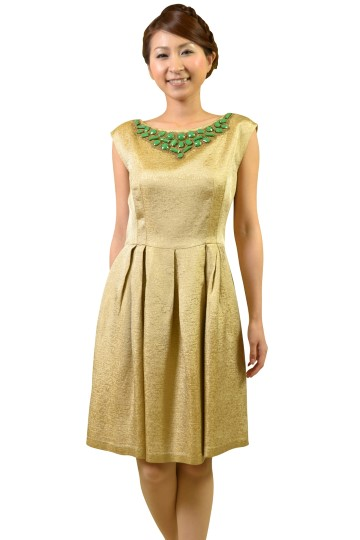 グリーンストーンビジュゴールドドレス
