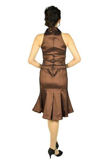 ブラウン襟付きマーメードドレス