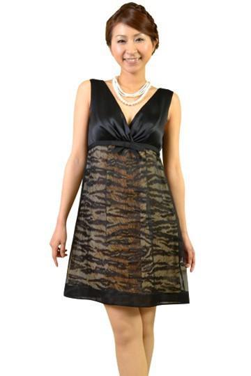 Vネックトラ柄ドレス