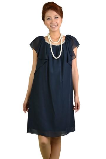 ネイビーミニ袖ドレス
