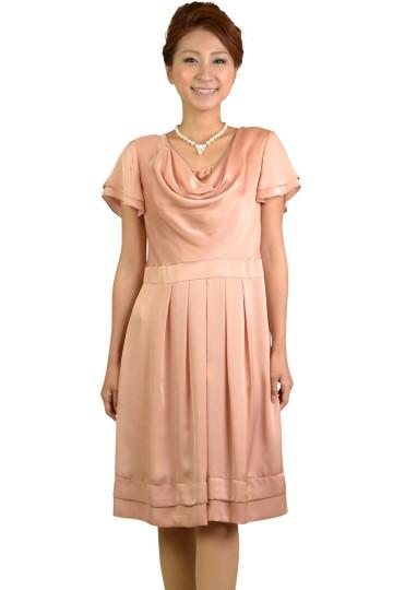 オレンジピンクミニ袖ドレス