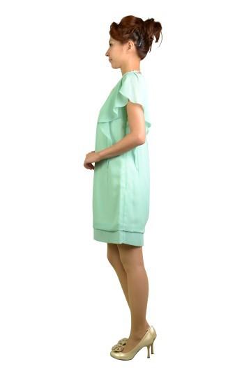 ミントカラーミニ袖ドレス