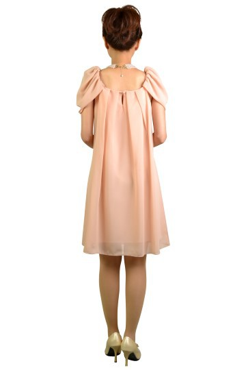 ピンクミニ袖ドレス
