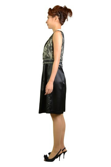 ブラックレースバイカラードレス