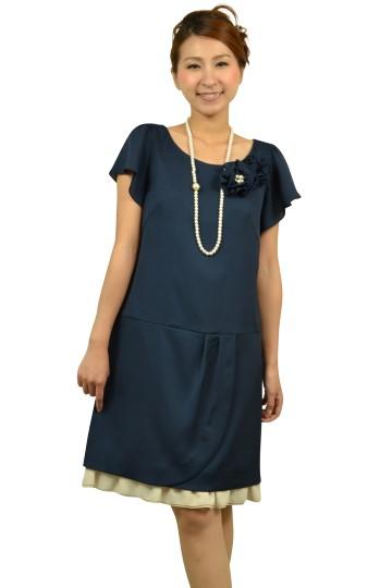 コサージュ付き半袖ネイビードレス