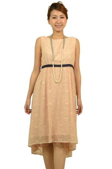 シンプルピンクレースドレス