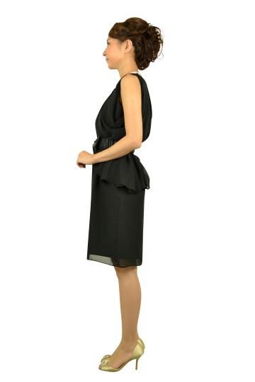 シンプルドレープブラックドレス