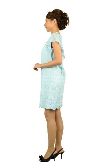 爽やかブルーミニ袖ドレス