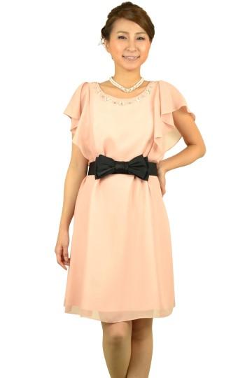 シンプルピンクミニ袖ドレス