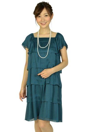 ブルーグリーンティアードドレス