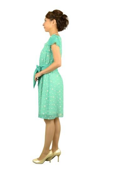 ブルーグリーン刺繍ミニ袖ドレス