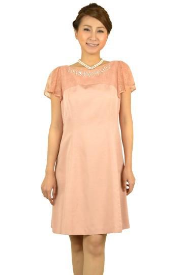 ピンクフレアミニ袖ドレス