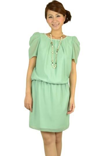ライトグリーンミニ袖ドレス