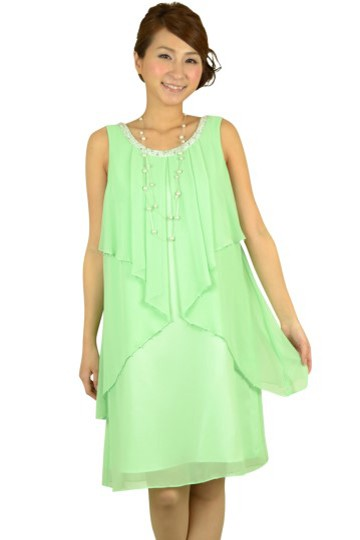 ライトグリーンビジュドレス