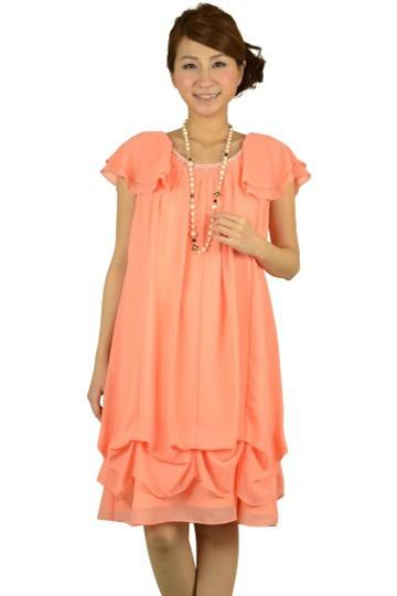 ミニ袖ウエストマークオレンジドレス