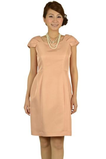 上品バックリボンピンクドレス