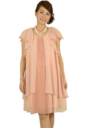 センタープリーツミニ袖ドレス