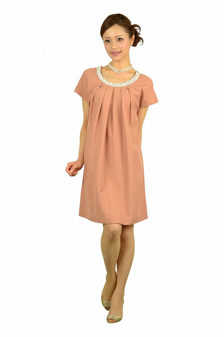サーモンピンクミニ袖ドレス