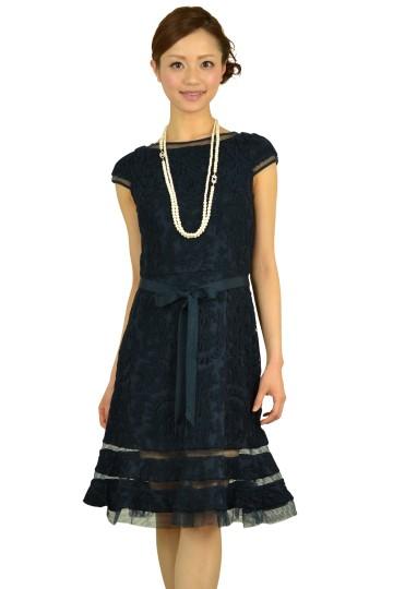 ネイビーミニ袖柄ドレス