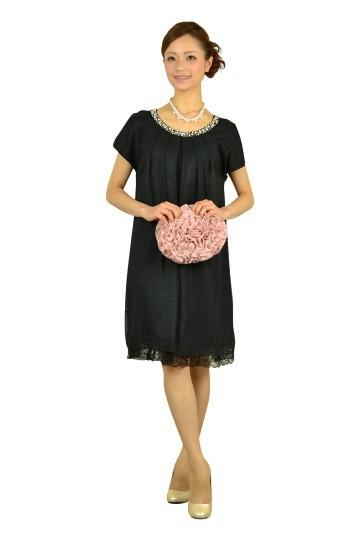 ブラックゆったりミニ袖ドレス