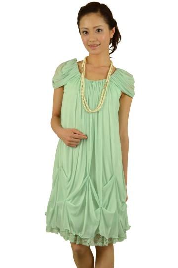 ライトグリーンゆったりドレス