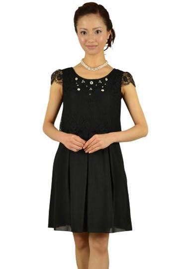 ビジュ付きオーバートップスブラックドレス